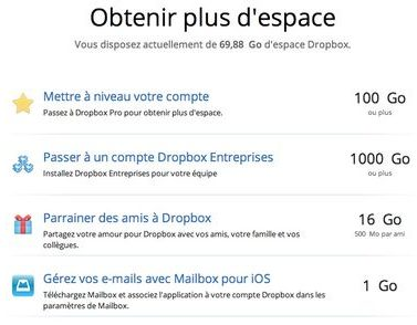 Offres de parrainage Dropbox