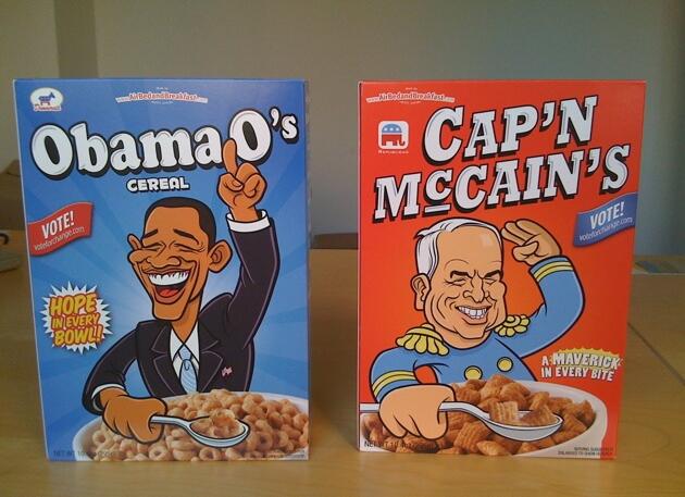 Les Céréals Obama et McCain vendu par les créateurs de Airbnb