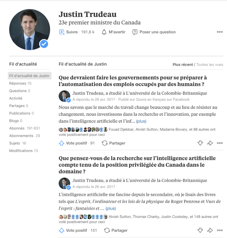 Profil Quora du Premier Ministre du Canada, Justin Trudeau