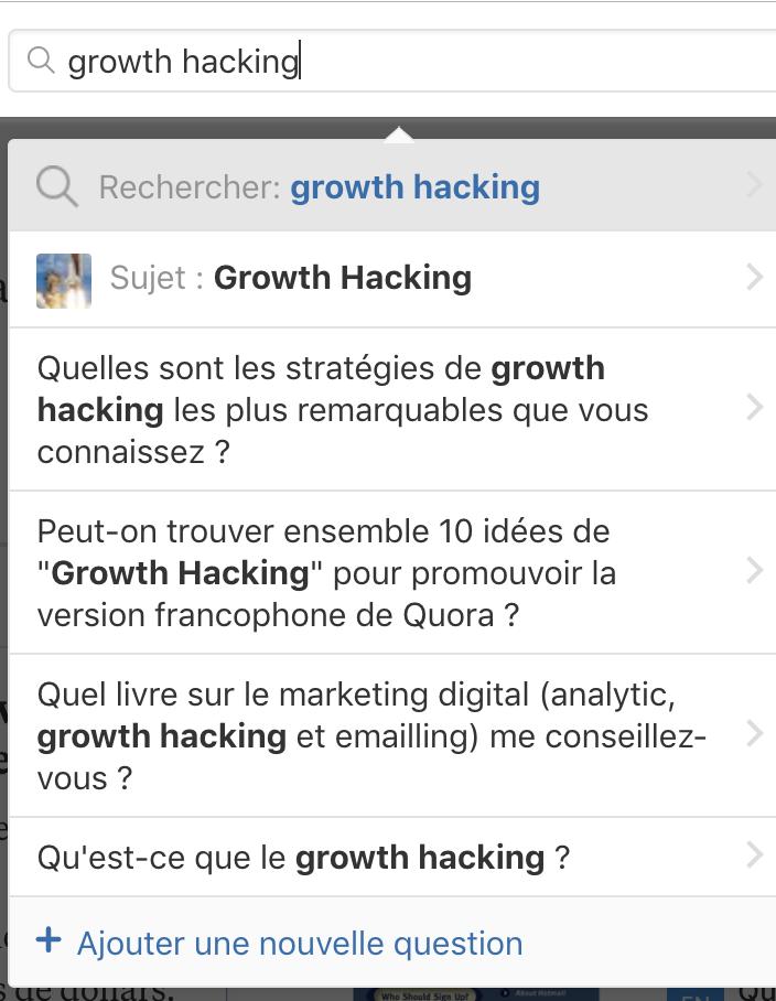 Recherche Quora : Growth Hacking