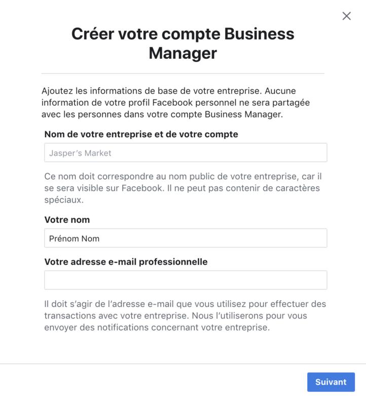 Popup de création de compte Business Facebook