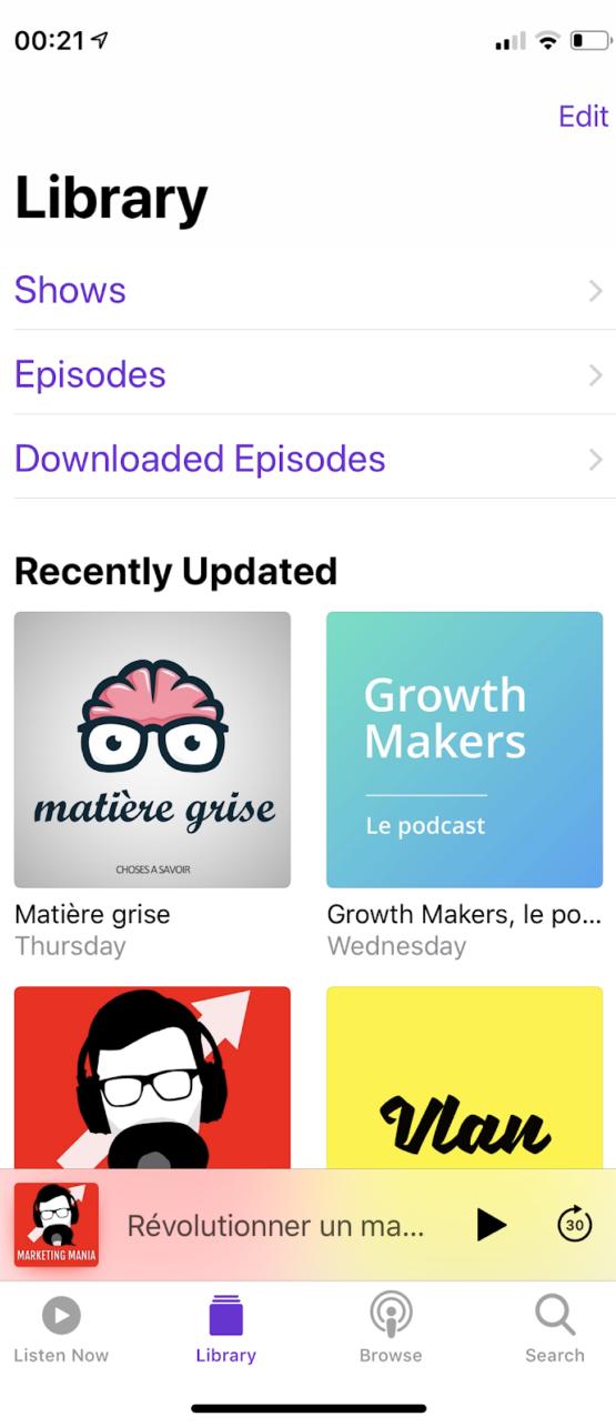 Interface de l'application Apple Podcast